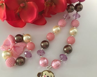 SALE!! Monkey Love chunky/bubblegum bead necklace set