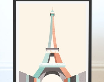 Eiffel Tower Print. Eiffel Tower Art. Paris Art. Paris Print. Paris Landmark. Travel Print.