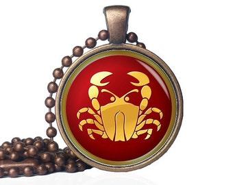 Cancer Pendant - Cancer Necklace - Zodiac Jewelry - Cancer Jewelry - Cancer Birthday Gift - Cancer Gift - Zodiac Crab - Zodiac Cancer