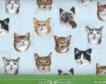 Asst.Allover Cat faces, Light BlueElizabeth Studio 1 yard