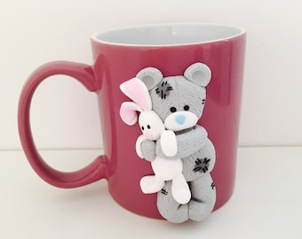 Teddy&Bunny Decorated mug polymer clay 3D Special gift