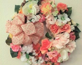 Floral Wreath- The VICTORIAN BLOSSOM WREATH-Summer Wreath-Cottage Wreath-Pink Wreath-Spring Wreath-Interior/Door Wreath-Decorative Wreath