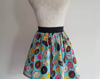 """Adult Donuts Full Skater Skirt - 2"""" Waistband"""
