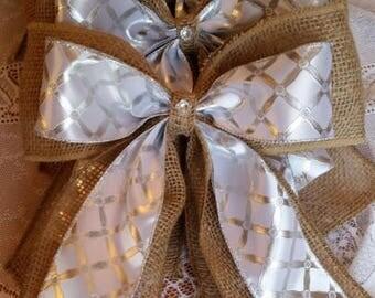 SET OF 6 Wedding Bow Burlap Bow Wedding Pew Bow Burlap Wedding Rustic Wedding Chair Bow Wreath Bow Aisle Decoration Burlap Lace Bow