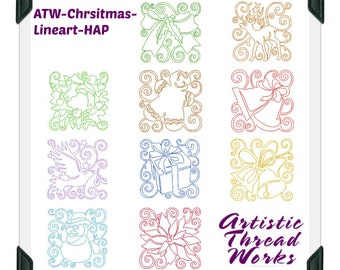 Christmas-Continuous-Lineart ( 10 Machine Embroidery Designs from ATW )
