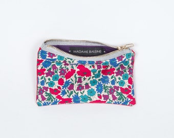Small rectangular Pocket Liberty blue red purple. Flower pouch. Tote. Wallet. Card holders. Kit. Range keys