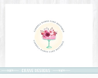 Cake Logo design, Bakery Logo, Wedding Cake logo, Events Logo, Floral Logo, Watercolor Logo, Artisan Cake