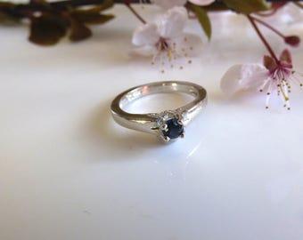 Blue Sapphire Ring / Australian Sapphire Ring /Saphire Rings/Sterling Silver Ring.  4mm diameter natural Australian Blue Sapphire.  JS344
