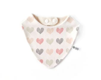 Bandana bib for teething baby 100% cotton organic hearts