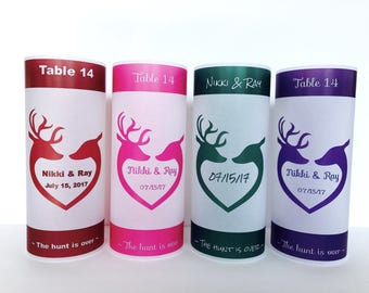 Table numbers,  Luminaries , Table decor, Wedding table centerpiece, the hunt is over wedding decor,wedding lumiaries, hunting wedding, deer