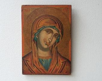 Vintage Orthadox Art Virgin Mary Religious Print Byzantine Icon