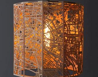 Berlin City Map Lamp Shade made of Wood