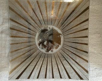 Mid-Century Georges Briard Square Textured Glass Dish, Gold Quail design