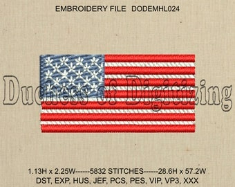 US Flag Embroidery Design, US Flag Embroidery File, Flag Embroidery Design, Flag Embroidery File,  DODEMHL024