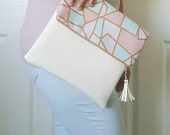 Pink Teal White Pastel Clutch Purse, Large Clutch Purse, Clutch Bag, White Faux Leather, Leather Clutch, Wristlet Clutch, Birthday Gift