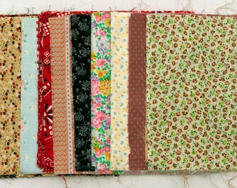"""Sale From 30.00 to 20.00  47 Pre-Cut Floral Quilting Squares 10"""" x 10"""" Hand Cut"""