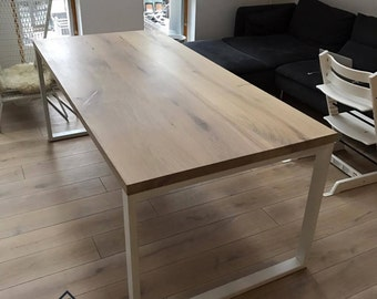 Bleached oak dining table with strong metal legs. Can be customized. Natural wood, dining table, office table.
