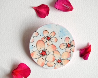 "Watercolour jewells, handpainted brooch ""Spring Blossom"", flower brooch, paper jewellery, handmade brooch, handcrafted gift for her"