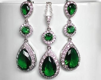 Emerald Green Cubic Zirconia CZ Bridal Necklace and Earring Set, Bridal, Wedding (Sparkle-2060)