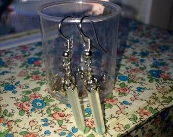 Jade green crystal point earrings