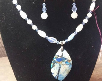 """20"""" azurite, cats eye and crystal necklace and earring set"""