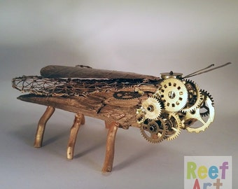 Gold tank, Insect art, Hanmade, Steampunk, Organic sculpture, Home decor, Eco friendly