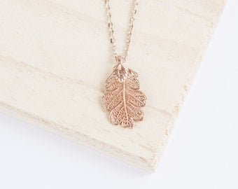 Oak, Genuine Leaf Necklace, Leaf Pendant, Silver Leaf, Rose Gold Leaf, Copper Leaf, Yellow Gold Leaf, Choose Your Finish, Oak Leaf Jewelry