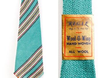 Vintage 1930s 1940s NOS Hand Woven Necktie Deadstock Teal