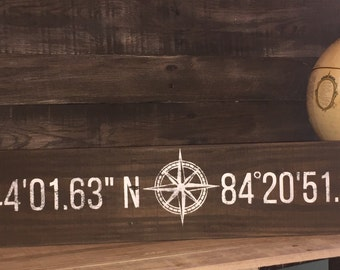 custom coordinates reclaimed wood sign compass rose wedding anniversary gift