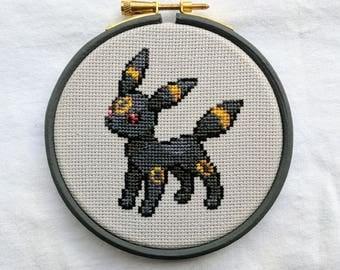 """Umbreon Pokemon Cross Stitch in 4"""" Hoop"""