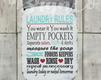 Mason Jar / Laundry Rules / Rustic Home Decor / Laundry Room Decor