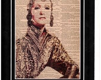 Art print of Marlene Dietrich vintage dictionary paper