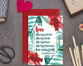 Love Always Protects, Always Trusts Botanical Card - 1 Corinthians 13:7 - Anniversary Card - Wedding Card - Engagement Card - Christian Card