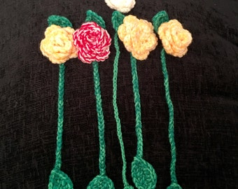 Handmade crochet flower bookmark