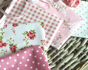 5pc Pink floral fabric, Quilt fabric, Fabric, Polka dots fabric, Gingham check fabric, Floral fabric, Pink fabric, Doll dress fabric, Pink