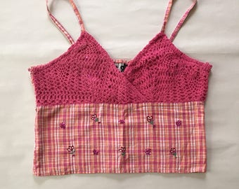 SALE...crochet cotton crop top | 90s summet tank top | sequined flower plaid pink top