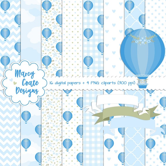 Blue Hot Air Balloon digital paper, Blue Hot Air Balloon clipart, commercial use OK for planners, stickers, scrapbooking, card making, etc.