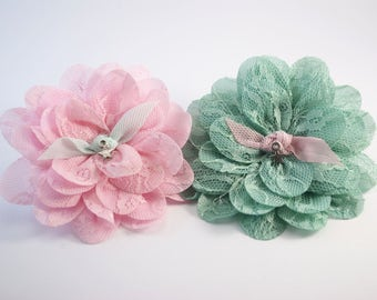 Set of 2 Baby Girl Headbands. Baby Flower Headband.
