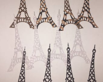 DIE CUT SHAPES/ Embellishments- Effiel Tower x 12