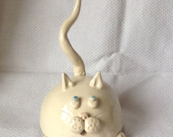 Fat Cat Ceramic Pottery Ring Holder
