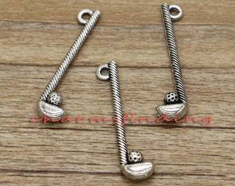 20pcs Golf Charms Sports Charms Club and Ball Charms Antique Silver Tone 34x12mm cf0439