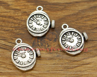 15pcs Clock Charms Watch Charms Antique Silver Tone 17x21mm cf2752