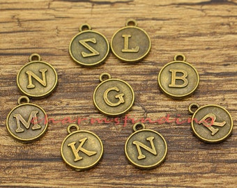 26 A-Z Alphabet Letter Charms Letter Charms Initials Monogram Add on Charms Antique Bronze Tone 12x12x15mm cf1747