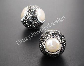 3pieces,Rhinestone Beads,Jewelry Supplie,Crystal Rhinestone,Natural Beads,Gemstone Beads,Jewelry Making,Pave Beads,Beads For Making,JD541-JB