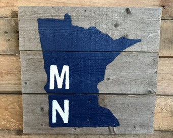 Rustic Minnesota Pallet Wood Sign.  MN Sign.  MN Decor.  Hand Painted Sign.  Navy Blue and White.