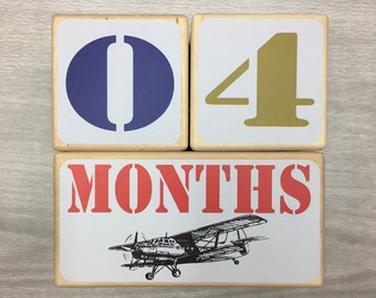 Baby Milestone Blocks - Baby Age Blocks -  Vintage Airplanes - Newborn Boy - Pregnancy Photo Prop - Baby Shower Gift - Boy Nursery Decor