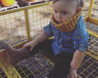 Toddler Cowl/ Toddler Infinity/ Chunky Knit/ Mustard Scarf