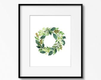 SALE - Green Wreath Original Watercolor