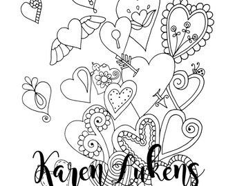 """Valentine's - """"Free My Heart"""", 1 Adult Coloring Book Page, Instant Download, Valentine's"""