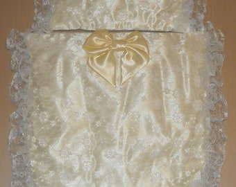Lemon Yellow Satin and White Lace Moses Basket or Baby Pram Stroller Quilt Set